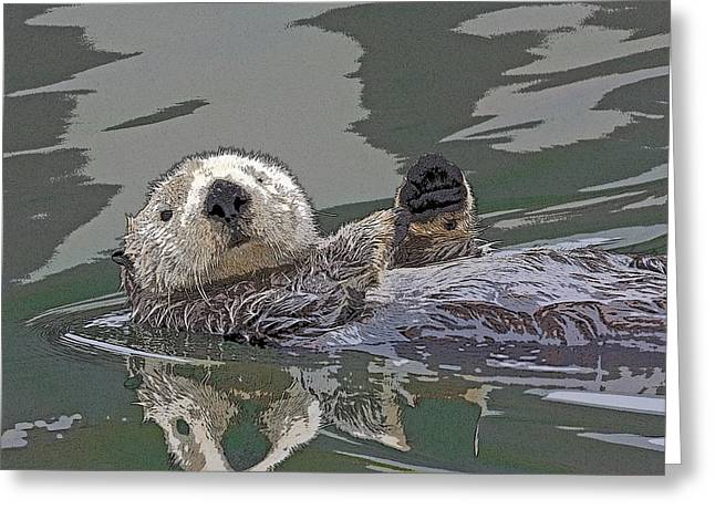 Sea Otter Waving- Abstract Greeting Card by Tim Grams