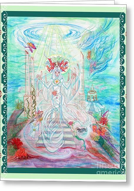 Sea Priestess With Scroll Border Greeting Card