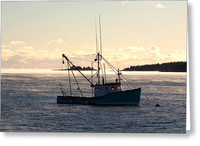 Greeting Card featuring the photograph Sea-smoke On The Harbor by Brent L Ander