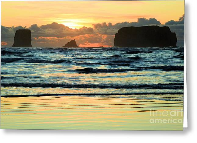 Sea Stack Sunset Greeting Card by Adam Jewell