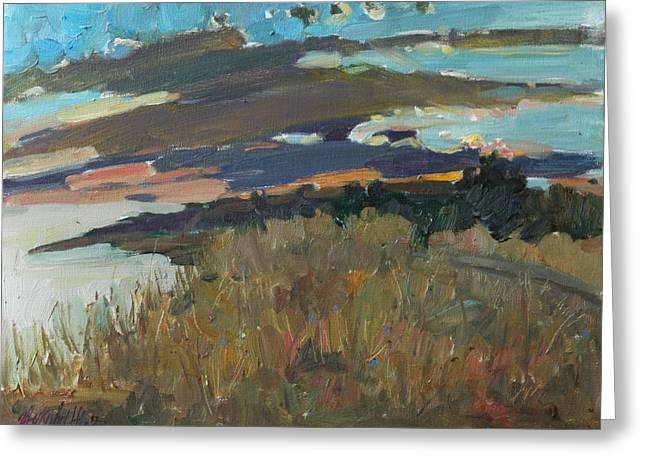 Sea Sunset Greeting Card by Juliya Zhukova