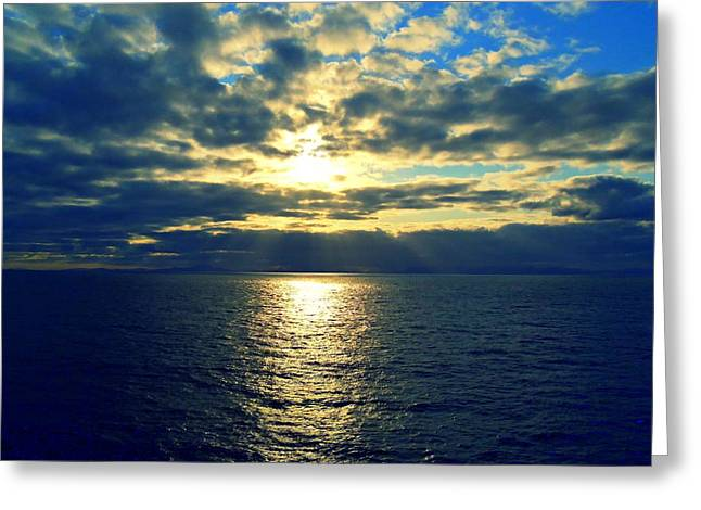 Sea Sunset Greeting Card by Randall Weidner