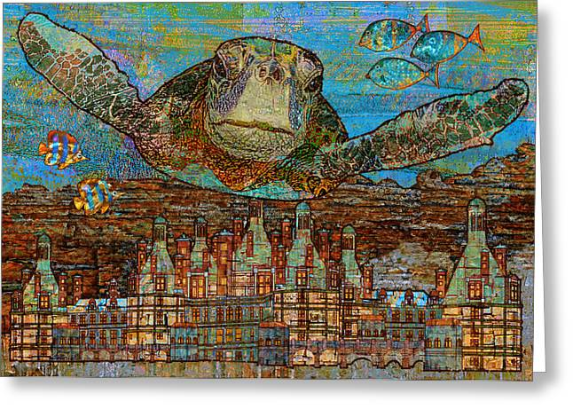 Sea Turtle Over Atlantis Greeting Card by Mary Ogle