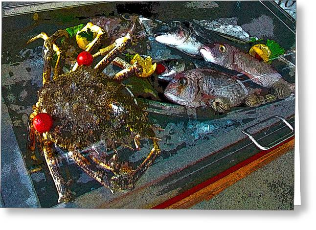 Seafood In Opatija -1 Greeting Card by Rezzan Erguvan-Onal