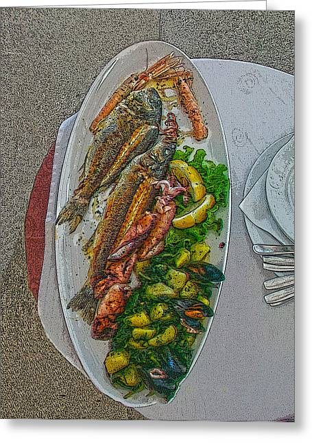 Seafood In Opatija -2 Greeting Card by Rezzan Erguvan-Onal