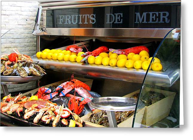 Seafood Market In Nice Greeting Card by Carla Parris