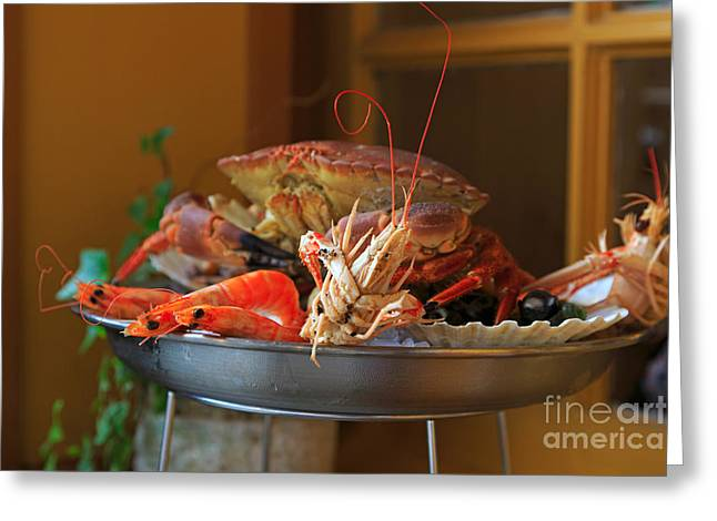 Seafood Platter Greeting Card by Louise Heusinkveld