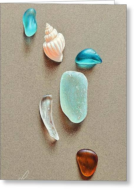 Seaglass Pieces Greeting Card by Elena Kolotusha