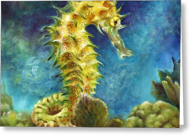 Seahorse I Greeting Card by Nancy Tilles