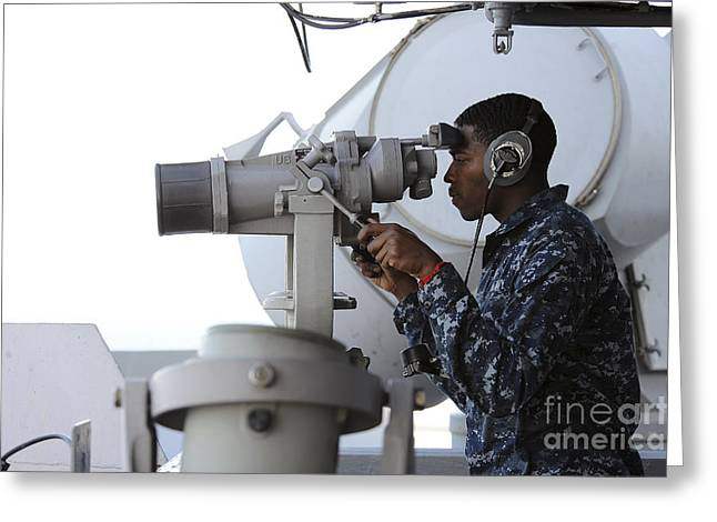 Seaman Scans The Horizon Aboard Uss Greeting Card