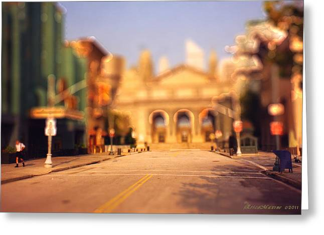 Greeting Card featuring the photograph Seaport Tiltshift by EricaMaxine  Price