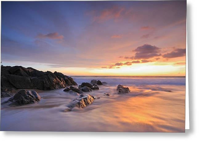 Seascape At Sunset Greeting Card by Teerapat Pattanasoponpong