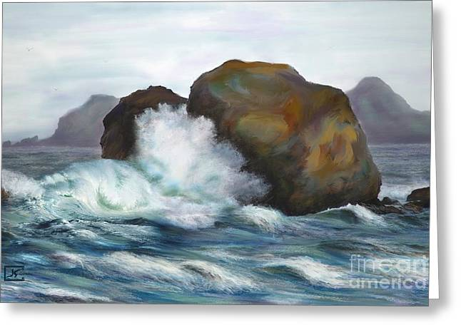 Seascape Rocks And Surf Greeting Card by Judy Filarecki