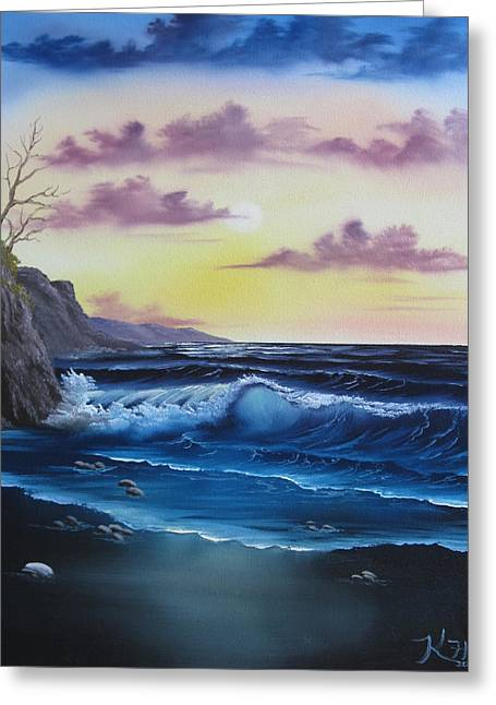 Seascape Sunset Greeting Card by Kevin Hill