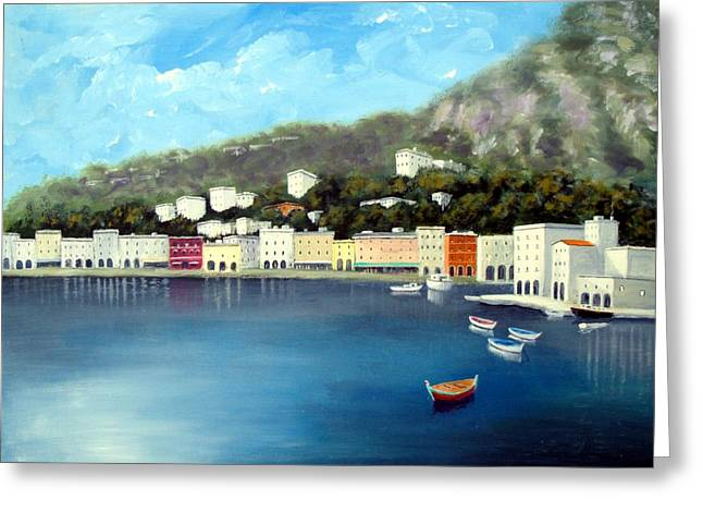 Seaside Town Greeting Card by Larry Cirigliano