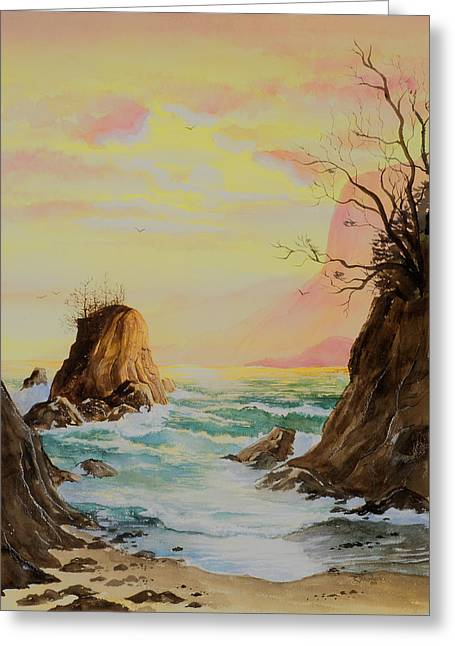 Seastack Sunset Greeting Card