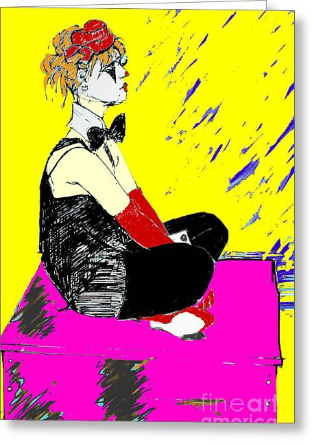 Seated Coloured Clown Greeting Card by Joanne Claxton