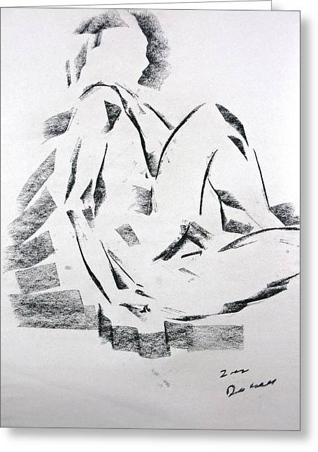 Greeting Card featuring the drawing Seated Male by Brian Sereda