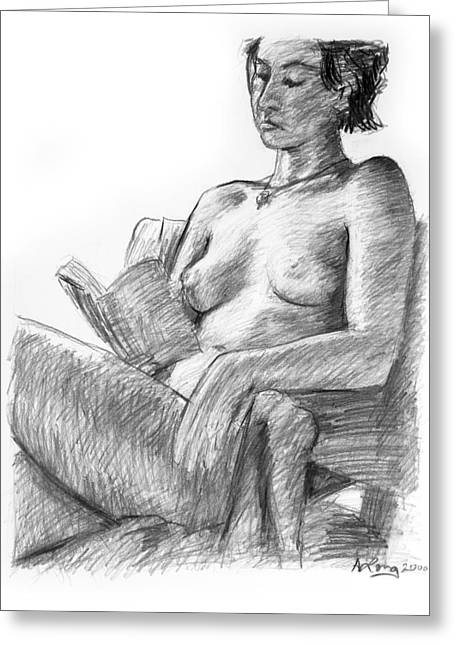 Seated Nude Reading Figure Drawing Greeting Card by Adam Long