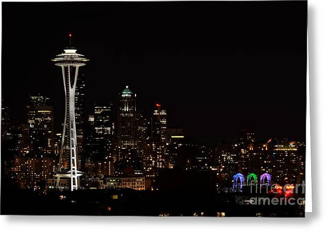 Seattle At Night Greeting Card by Alan Clifford