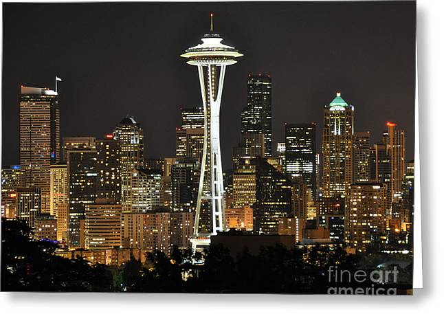 Greeting Card featuring the photograph Seattle At Night by Jack Moskovita