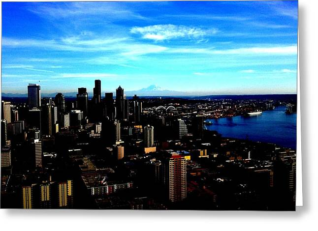 Seattle Cityscape Greeting Card by J Von Ryan