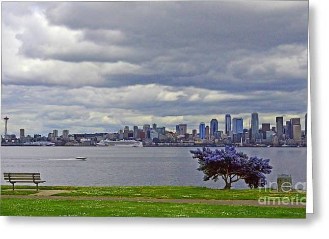 Greeting Card featuring the photograph Seattle From Alki Beach by Jack Moskovita