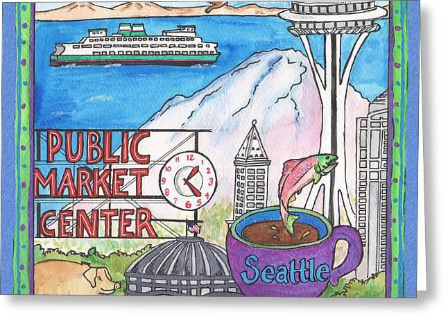 Seattle Montage Greeting Card by Pamela  Corwin