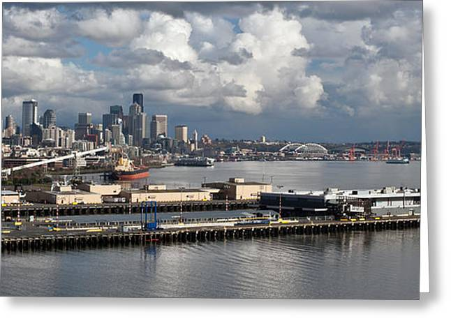 Seattle Pier View Greeting Card by Mike Reid