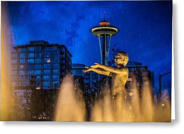 Seattle Rain Boy Greeting Card by Ken Stanback