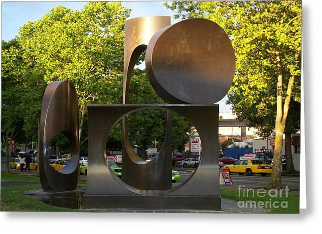 Greeting Card featuring the photograph Seattle Sculpture by Chalet Roome-Rigdon