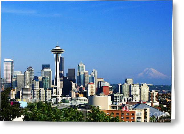 Greeting Card featuring the photograph Seattle Skyline by Jack Moskovita