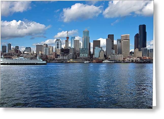 Seattle Skyline Greeting Card by Richard Leon