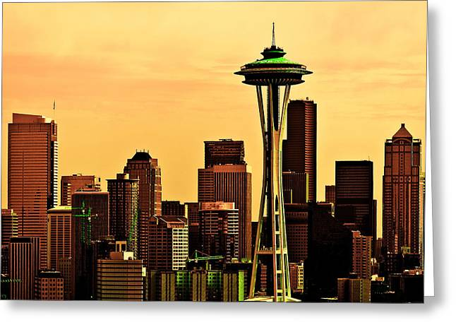 Seattle Skyline Greeting Card by Vicki Jauron