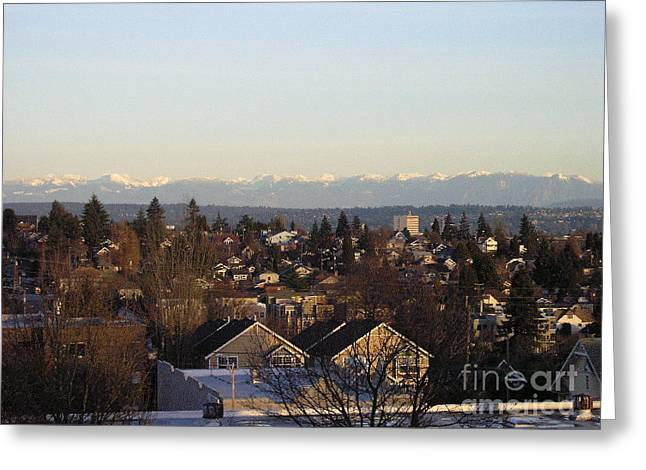 Seattle Suburb In Winter Greeting Card