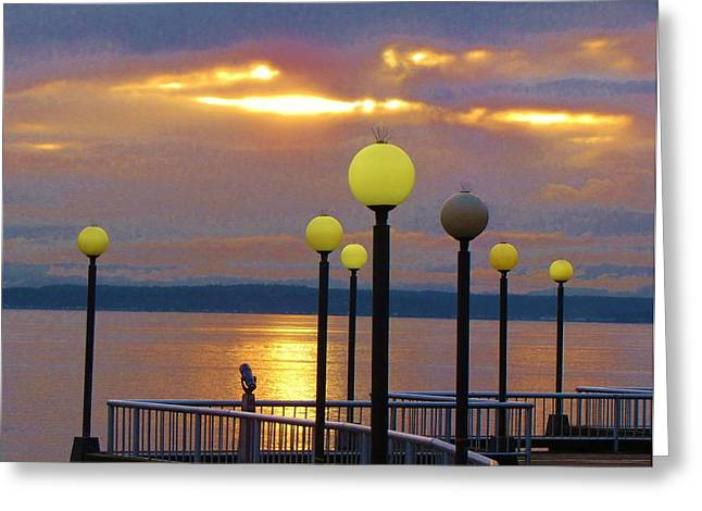 Seattle Sunburst Greeting Card by Feva  Fotos