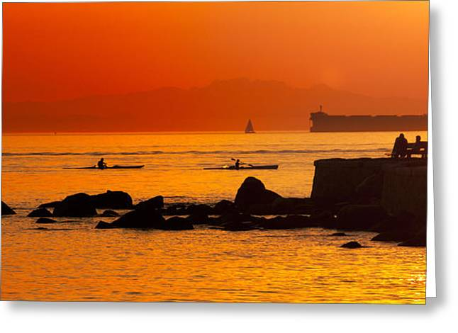Seawall Silhouette Greeting Card