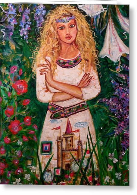 Secret Castle Garden Greeting Card by Kimberly Van Rossum