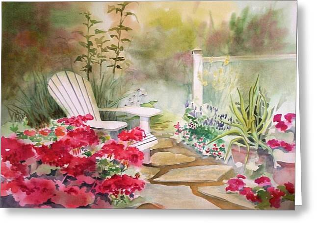 Greeting Card featuring the painting Secret Garden by Richard Willows