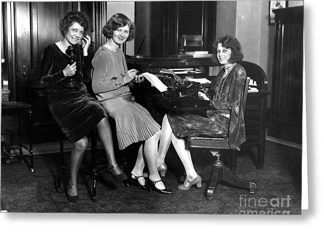 Secretarial Staff Of The Vice President Greeting Card by Photo Researchers