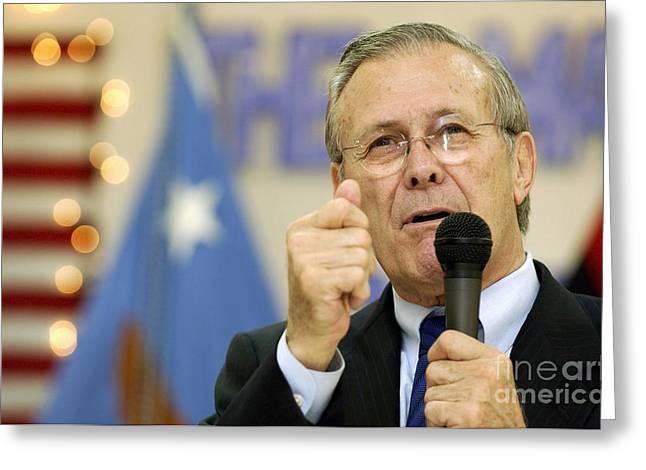 Secretary Of Defense Donald H. Rumsfeld Greeting Card by Stocktrek Images