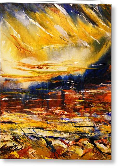 Greeting Card featuring the painting Sedona Sky by Karen  Ferrand Carroll