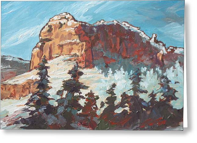 Sedona Snow Greeting Card by Sandy Tracey