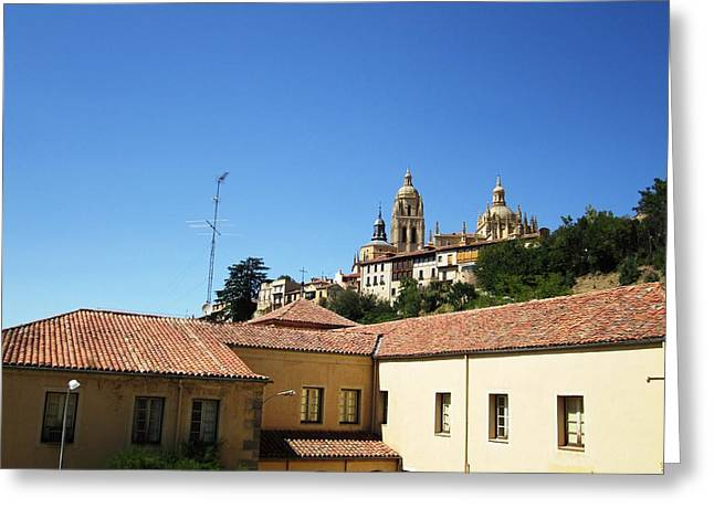 Segovia Castle Alcazar View Of Homes In The Hills Below With Blue Sky In Spain Greeting Card