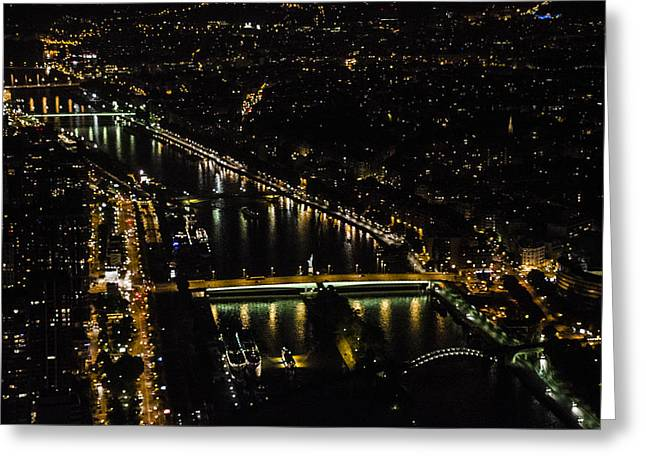 Seine River Atop The Eiffel Tower Greeting Card