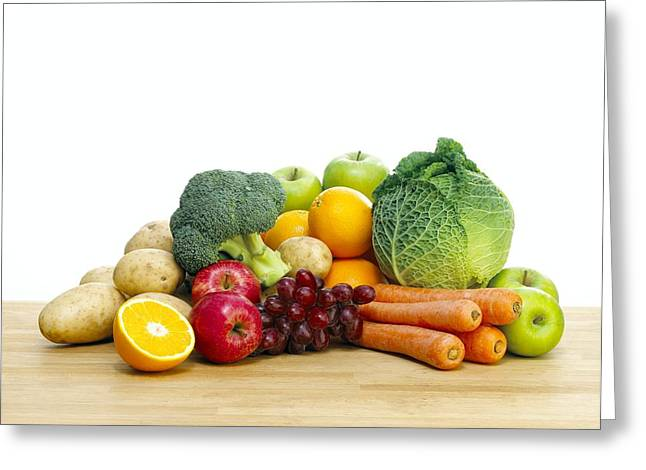 Selection Of Fresh Fruit And Vegetables Greeting Card by Mark Sykes