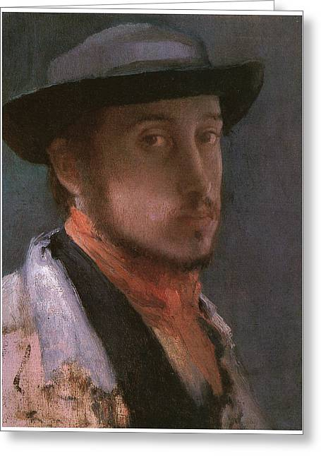 Self-portrait In A Soft Hat Greeting Card by Edgar Degas