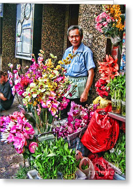 Selling Flowers In Chinatown Greeting Card by Anne Ferguson