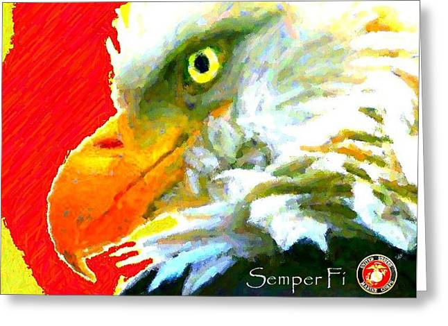 Semper Fi Greeting Card by Carrie OBrien Sibley