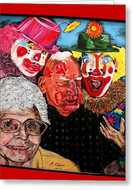 Send In The Clowns Greeting Card by Karen Elzinga